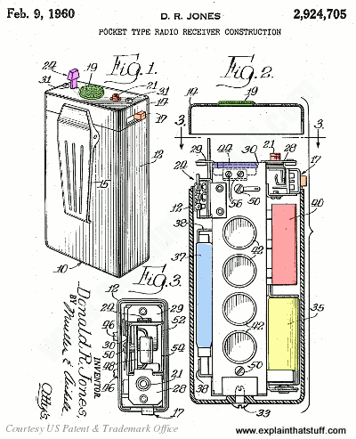 Labeled artwork of a Motorola radio pager from a 1960 patent by Donald R. Jones