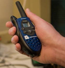 Blue handheld Motorola walkie-talkie