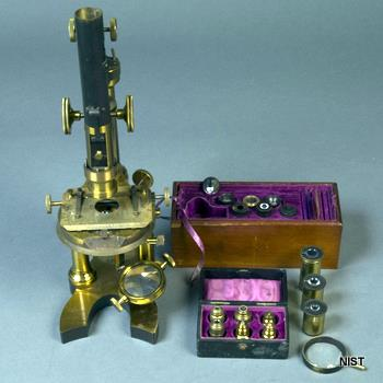 A Nachet polarizing microscope from the NIST Digital Collection.