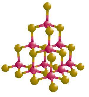 A crystal lattice of the semiconductor material cadmium sulfide