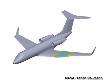 NASA CAD drawing of wing glove on G-III research aircraft