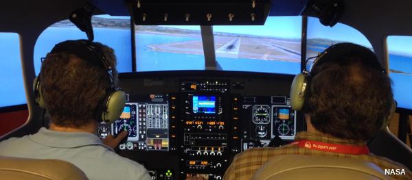 Computer artwork of computerized airplane cockpit windows