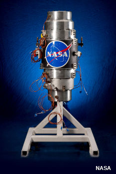 NASA G6 flywheel on blue background