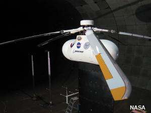 NASA SMART piezeoelectric helicopter rotor in a wind tunnel test.
