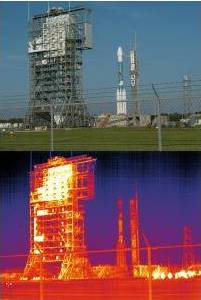 Heat losses by radiation on a rocket launch pad.