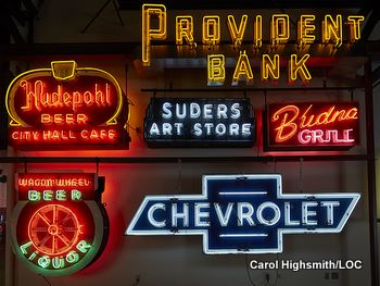 Neon signs at the American Sign Museum in Cincinnati, Ohio by Carol Highsmith