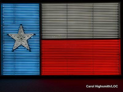 A neon sign showing the Texan Lone Star flag by Carol Highsmith.