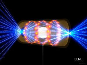 An artist's impression of how laser beams from the NIF are concentrated on a fuel pellet to produce nuclear fusion