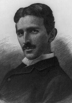 Nikola Tesla, black and white wood engraving c.1906