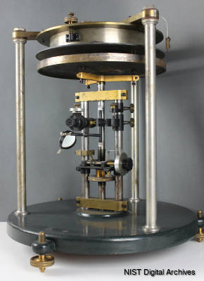 A variable parallel plate capacitor used to measure the speed of light courtesy of NIST.