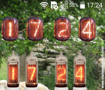 Nixie tube smartphone widgets on the screen of an Android phone.