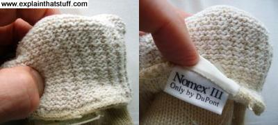 Nomex cooking gloves turned inside out to show fabric inside