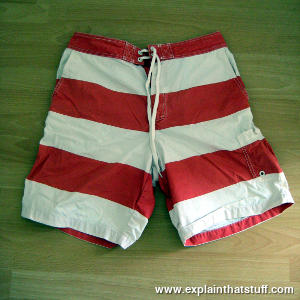 Red and white shorts made from 70 percent cotton and 30 percent nylon.