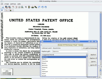 Screenshot showing the Linux Kooka scanning program being used to OCR a sample of text.
