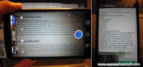 Scanning a screen of text with the Android smartphone app Text Scanner by Peace.