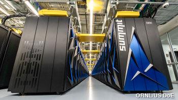 Photo of IBM Summit supercomputer at Oak Ridge National Laboratory.