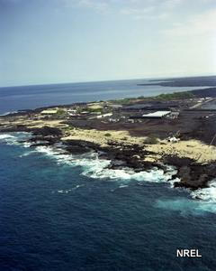 Looking from sea to land at the Natural Energy Laboratory in Keahole Point, Hawaii.