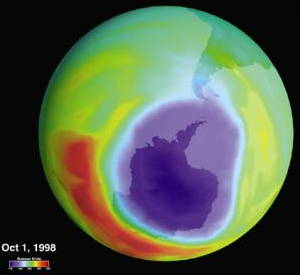 Hole in the ozone layer over Antarctica in October 1998.