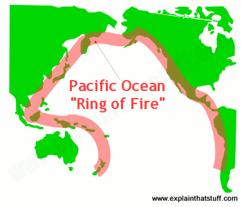 Map of the Pacific Ocean showing the Pacific Ring of Fire earthquake zone