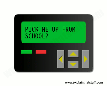 Pager with black plastic case and green screen. Clipart style illustration.
