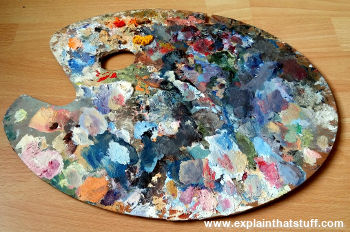 An artist's oil paint palette