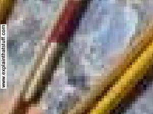 A closeup of the s oil paint palette photo, showing the pixels from which it's made.