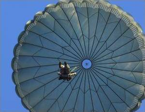A parachute coming in to land, photographed from directly beneath.