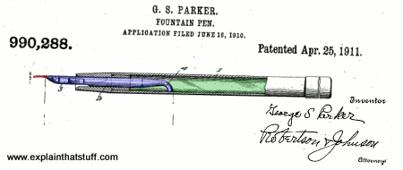 Patent drawing of George Parker's Lucky Curve fountain pen from 1911.