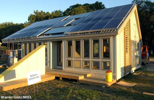 A futuristic passive solar home in the Sun.
