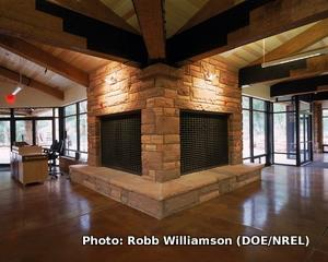 Heavy floors, walls, and fireplaces provide thermal mass in a passive solar home.