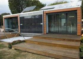 Large glass windows giving a building passive solar gain