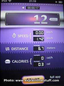 Pedometer app for the Apple iPod Touch and iPhone.