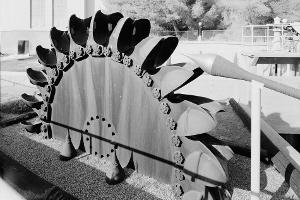 Disused Pelton water wheel.