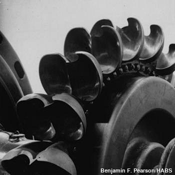 A Pelton wheel turbine showing the double-bucket design.