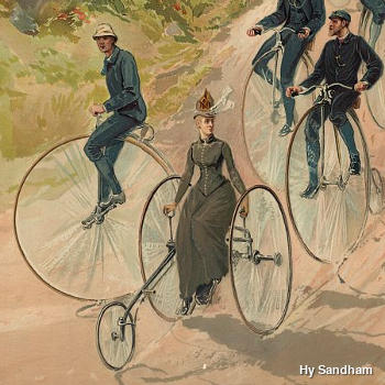 Bicycling race painting, showing penny farthing, high wheels by Hy (Henry) Sandham, Library of Congress