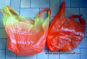 Photodegradation of an orange, Sainsbury's, plastic grocery store bag.