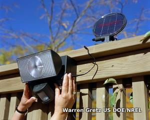 A solar-powered security light detects and switches on when people are nearby.