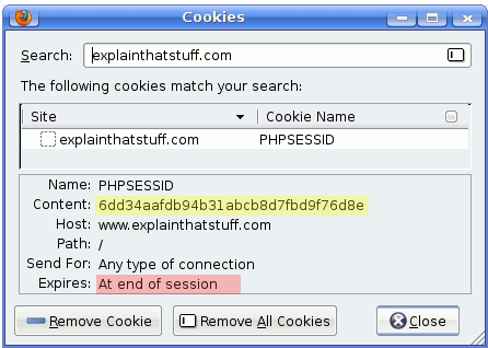Typical contents of the PHPSESSID cookie and when it expires.