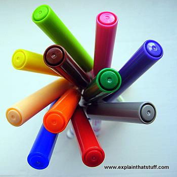 Colorful plastic pen tops