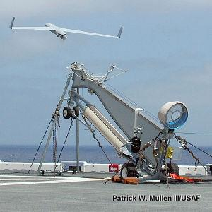 Launching a drone from a ship with a pneumatic catapult.