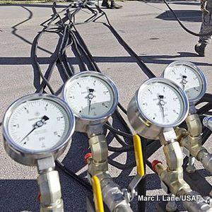 Pressure meters on a pneumatic manifold.