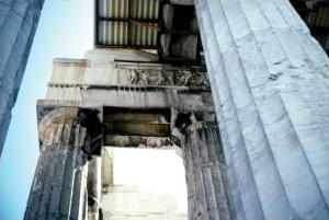 Exhaust pollution damage on the Parthenon in Athens, Greece