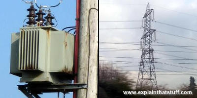 Left: Power line transformers. Right: Transmission line (pylon)