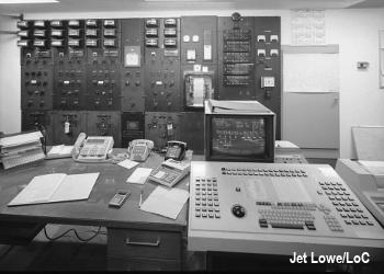 The control room in a small hydroelectric power plant.