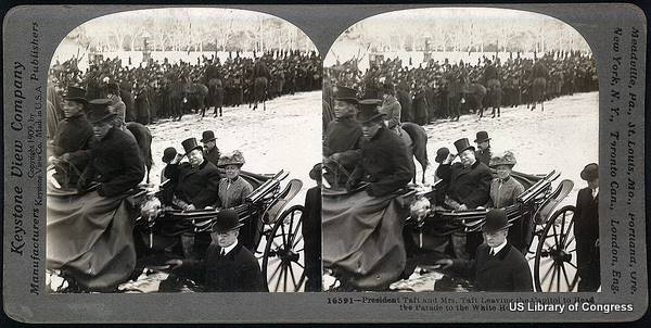 Stereograph showing President and Mrs Taft leaving for the White House in a horse carriage, March 1909.