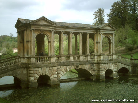 A Palladian stone arch bridge in Prior Park, Bath, England
