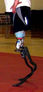 A prosthetic racing blade leg.
