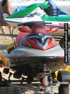 Photo of a Sea-Doo personal watercraft standing on a beach
