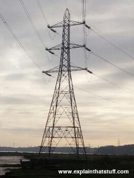 Electricity pylon near Southampton Water, England.