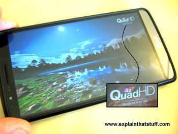 A QuadHD LG G3 smartphone screen
